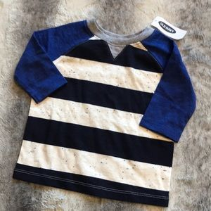 NWT Old navy striped Baseball tee navy ⚾️ 12-18m